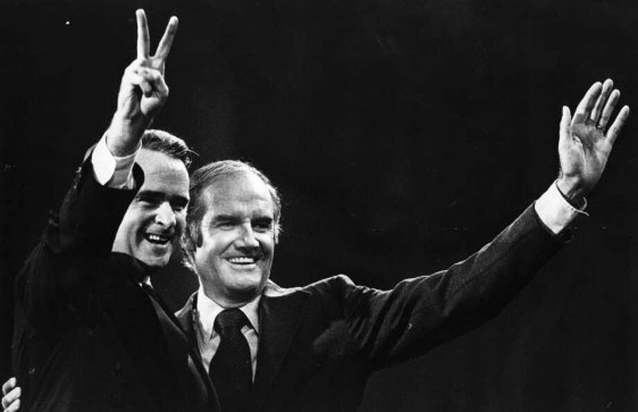 "George McGovern with his running mate Tom Eagleton in 1972. When the media revealed that Democratic vice presidential nominee had undergone electroshock therapy for depression, there was a call from many top Democrats for McGovern to replace him on the ticket. McGovern, an antiwar senator from South Dakota, held firm. ""I am one thousand percent for Tom Eagleton and I have no intention of dropping him from the ticket,"" McGovern said. Soon, however, McGovern dropped Eagleton from the ticket. His credibility also dropped and he lost in a landslide to Richard M. Nixon."