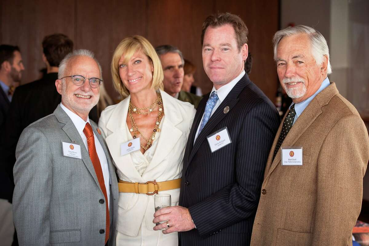 GGNPC Director Greg Moore (left) with Janet Reilly, GGBD GM Denis Mulligan and Mark Buell at the St. Francis Yacht Club. September 2012.