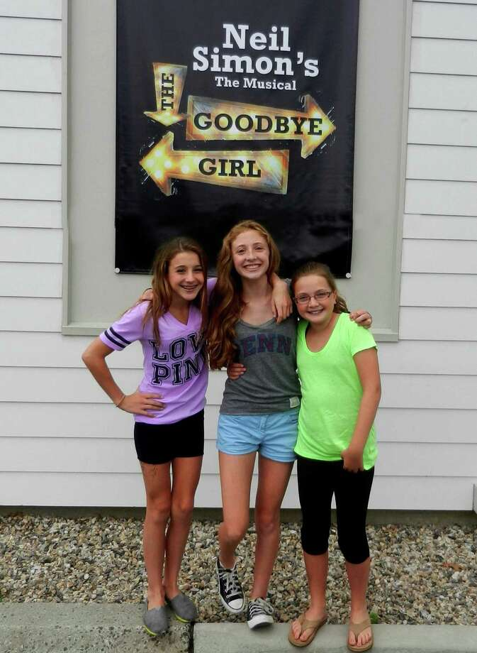 "Three of the younger members of the cast of ""The Goodbye Girl,"" now playing at The Kweskin Theatre, are, from left, Sarah Gold of Stamford, Grace Cashman of Darien and Claire Leville of New Canaan.three worked together on Curtain Call productions of Annie and Annie Warbucks and are like three peas in a pod!. Photo: Contributed"