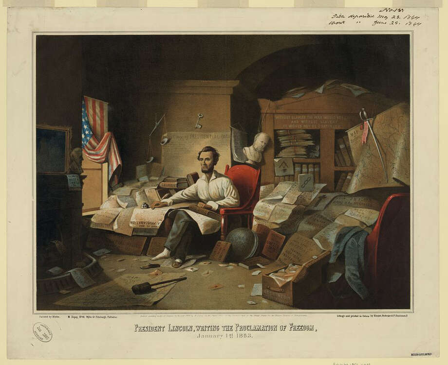 """President Lincoln, Writing the Proclamation of Freedom, Jan. 1, 1863"" will be included in ""Promise of Freedom,"" an exhibition at the Fairfield Museum and History Center featuring many historical documents. Photo: Contributed Photo"