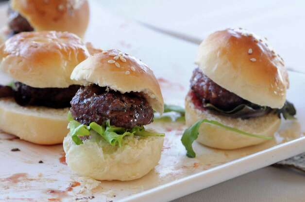 Slider burgers made from 100 percent grass-fed all natural beef at the Stuart Family Farm in Bridgewater were served at the Bridgewater Land Trust's fundraiser in Bridgewater on Saturday, September 15, 2012. Photo: Lisa Weir