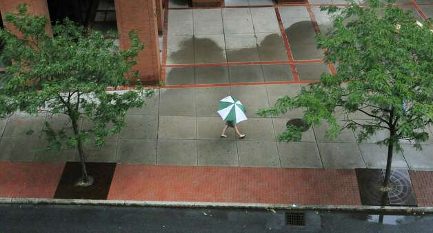 A woman protected by a large umbrella makes her way Tuesday down South Pearl Street  in Albany.  (Paul Buckowski / Times Union) Photo: Paul Buckowski