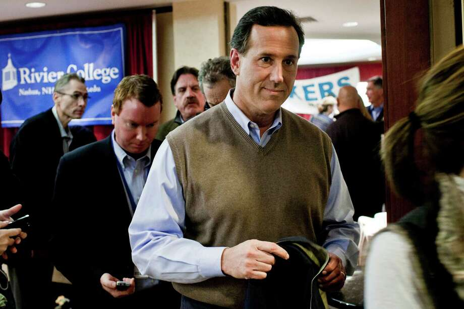 """Ex-Sen. Rick Santorum came to the fore as critique of 2003 Supreme Court ruling that tossed out Texas' anti-sodomy statute, and continues to equate gay marriage with polygamy and bigamy as 2012 presidential candidate.  On Monday he railed against gay adoption as """"robbing children of something they need, they deserve, they have a right to."""" Photo: T.J. Kirkpatrick, Getty Images / 2012 Getty Images"""