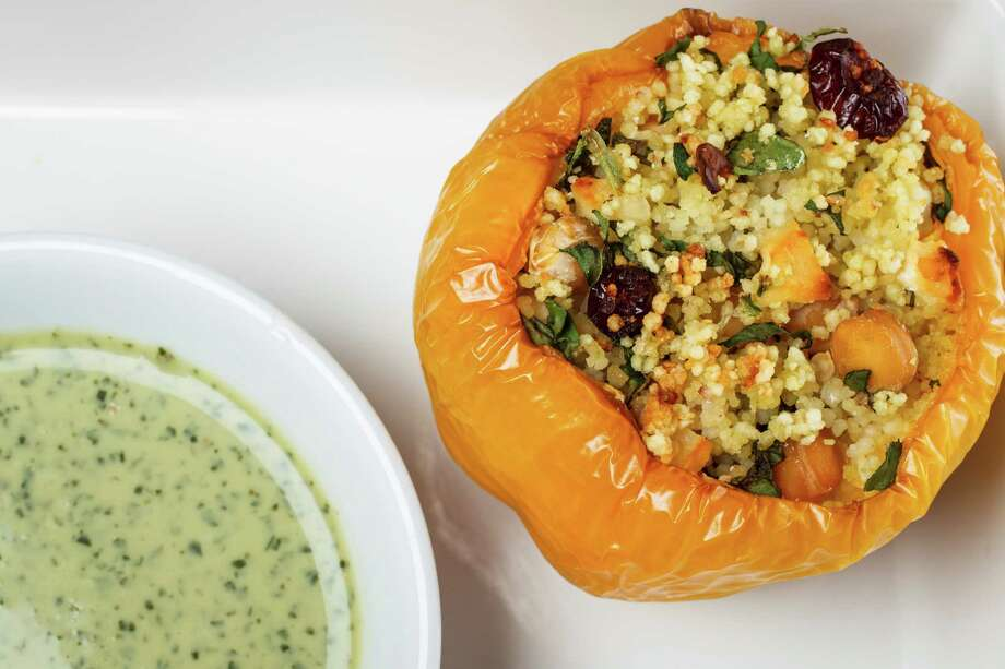 Stuffed bell peppers photographed in the Houston Chronicle Photo Studio, Thursday, Aug. 30, 2012, in Houston. ( Michael Paulsen / Houston Chronicle ) Photo: Michael Paulsen / © 2012 Houston Chronicle