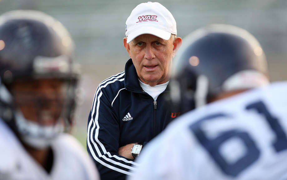 Head Coach Larry Coker watches during UTSA football team practice at Farris Stadium, Tuesday, Sept. 18, 2012. Photo: Jerry Lara, San Antonio Express-News / © 2012 San Antonio Express-News