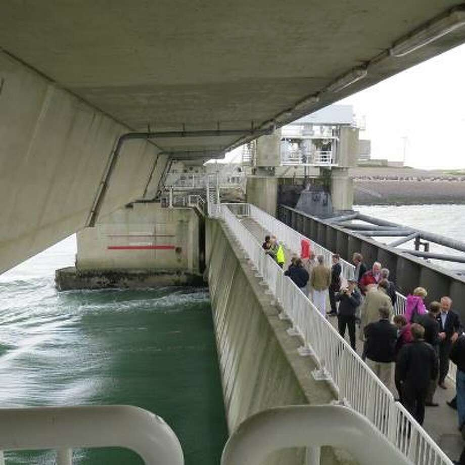 Members of a Galveston Ike fact-finding delegation tour the Eastern Scheldt Barrier, known to engineers as one of the seven wonders of the modern world. Photo: Harvey Rice / Houston Chronicle