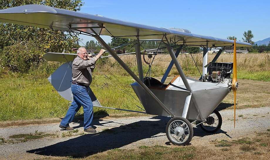 Ed Kusmirek, 84, used everything from bicycle parts to saucepan lids while putting together the Dormoy Bathtub. The retired researcher at Boeing plans to fly the vintage aircraft himself if the Federal Aviation Administration deems it airworthy. Photo: Mike Siegel, McClatchy-Tribune News Service