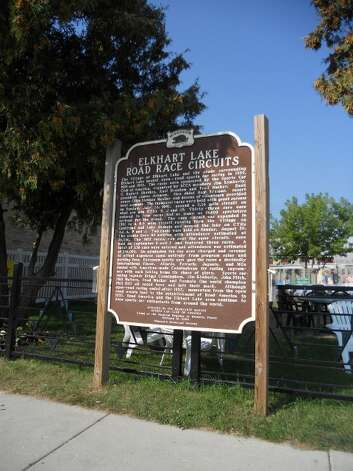 A historical marker in the village describes Elkhart Lake's open road racing circuits. Image credit Robin Soslow