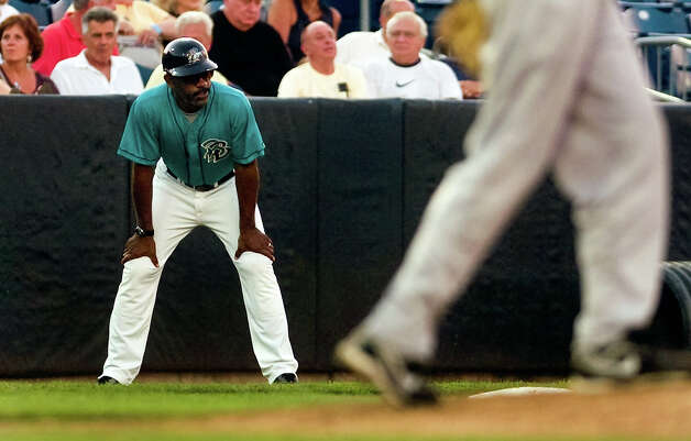 Bluefish Manager Willie Upshaw, during baseball action against the Long Island Ducks at the Ballpark at Harbor Yard in downtown Bridgeport, Conn. on Friday July 27, 2012. Photo: Christian Abraham / Connecticut Post