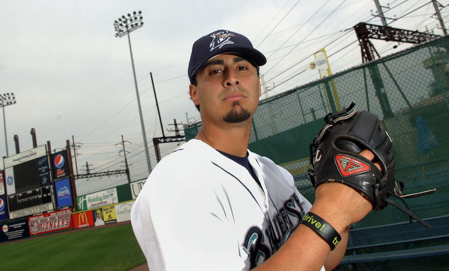 Bluefish pitcher Paul Oseguera poses during practice before a game at the Ballpark at Harbor Yard in Bridgeport, Conn. on Thursday June 16, 2011. Photo: Christian Abraham, ST / Connecticut Post