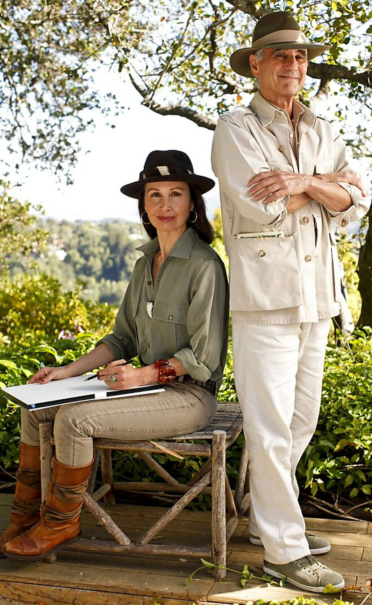 In an homage to one of the Banana Republic's catalog covers, Mel and Patricia Ziegler, the founders of the store, are seen at their Mill Valley, Calif., home on Thursday, Sep. 7, 2012.