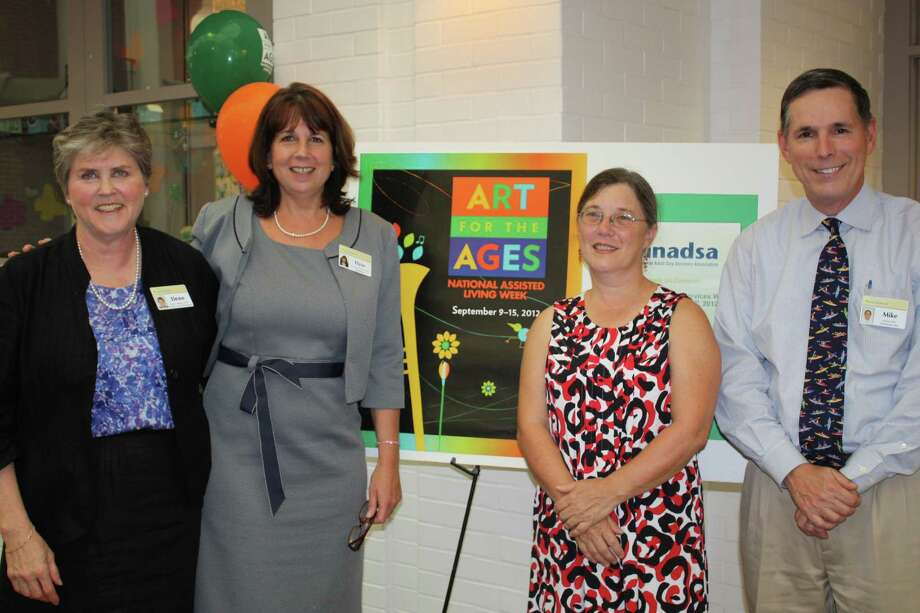 From left, Ilene Sumberg, director of Wavenyís adult day program; Elyse Dent, campus administrator; Beth Jones, selectman, and Michael Bird, Waveny CFO and interim CEO celebrated National Assisted Living and Adult Day Services Week, Sept. 10 through 14. Photo: Contributed Photo