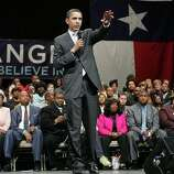 Democratic presidential hopeful Sen. Barack Obama, D-Ill., speaks during a town hall meeting campaign event Thursday, Feb. 28, 2008, in Beaumont, Texas.