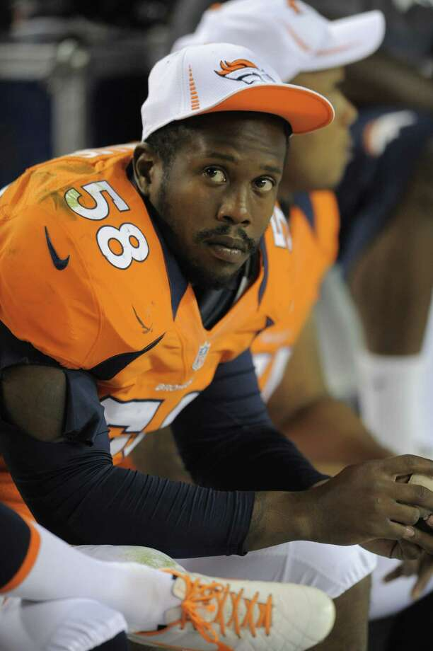 Denver Broncos linebacker Von Miller looks on against the Seattle Seahawks in the second half of an NFL football preseason game, Saturday, Aug. 18, 2012, in Denver. (AP Photo/Jack Dempsey) Photo: Jack Dempsey / FR42408-AP