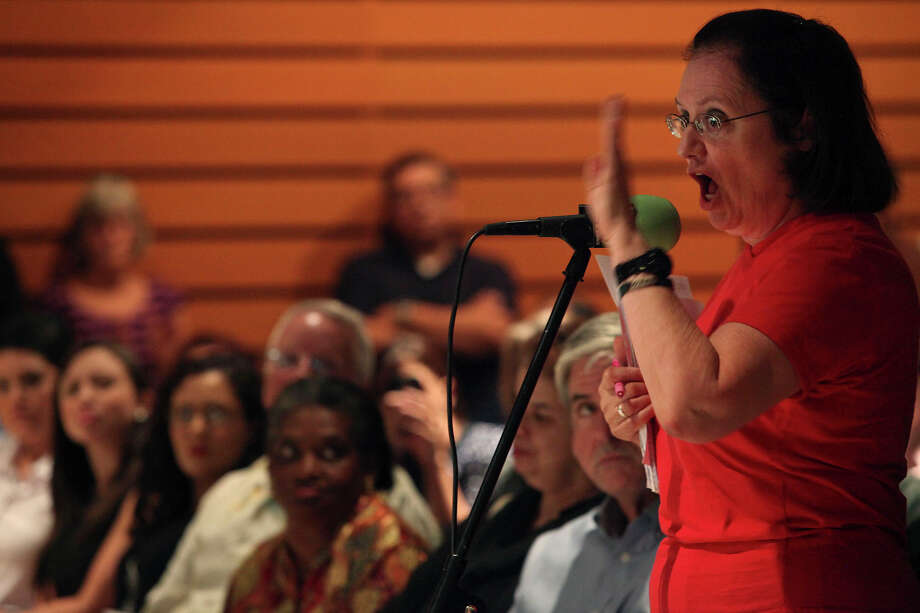 "Photo for Sunday Opinion prototype: Deborah Parrish, who was a teacher for 32 years in SAISD, voices her concerns about the Pre-K 4 SA plan and other educational issues during Texas Public Radio's ""The Newsmaker Hour"" Town Hall to discuss the Pre-K 4 SA plan. The question of who needs help to access pre-kindergarten is crucial. Photo: Lisa Krantz, San Antonio Express-News / San Antonio Express-News"