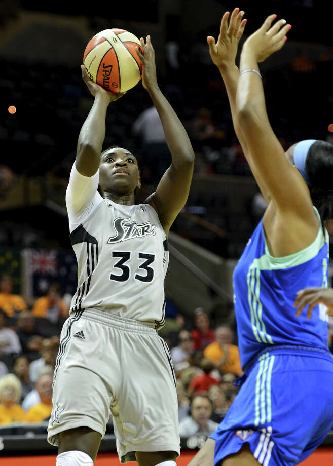 The Silver Stars' Sophia Young (33) takes a shot during a WNBA game between the San Antonio Silver Stars and the New York Liberty on Tuesday, Sept. 18, 2012, at the AT&T Center. Photo: JOHN ALBRIGHT, San Antonio Express-News / San Antonio Express-News