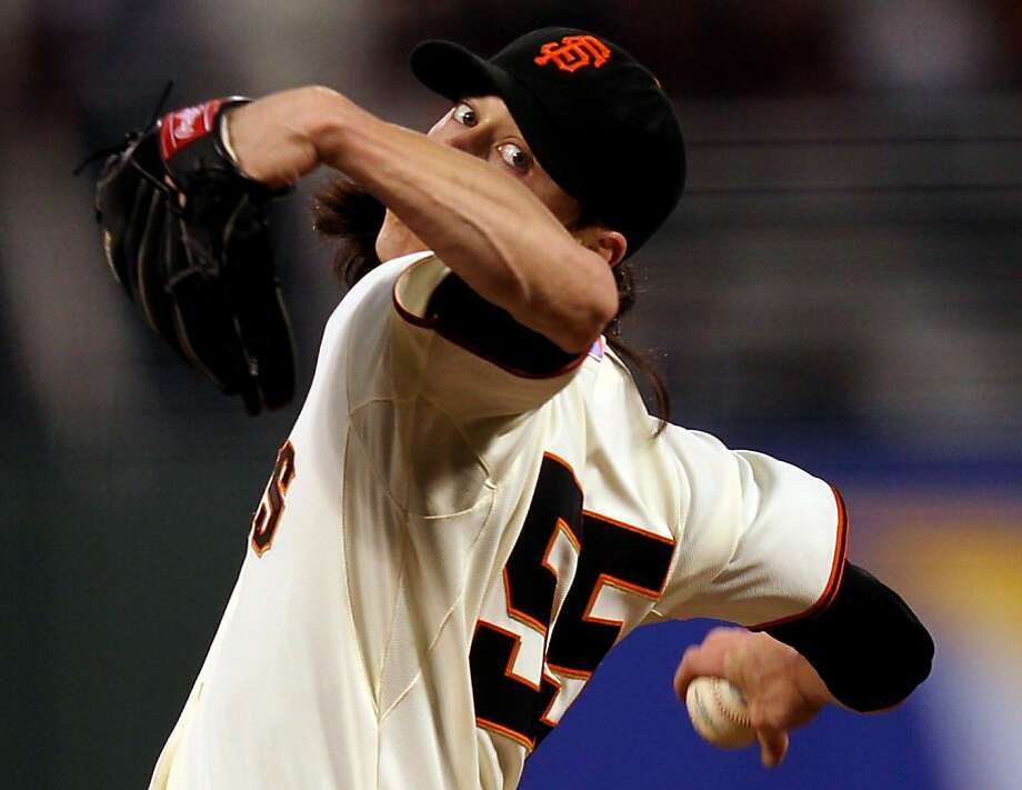 San Francisco Giants starting pitcher Tim Lincecum throws to the Colorado Rockies during the first inning of their MLB baseball game Tuesday September 18, 2012 in San Francisco California. Photo: Lance Iversen, The Chronicle