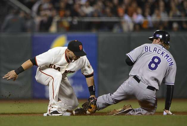 SAN FRANCISCO, CA - SEPTEMBER 18:  Charlie Blackmon #8 of the Colorado Rockies gets caught stealing tagged out at second base by Marco Scutaro #19 of the San Francisco Giants in six inning at AT&T Park on September 18, 2012 in San Francisco, California.  (Photo by Thearon W. Henderson/Getty Images) Photo: Thearon W. Henderson, Getty Images