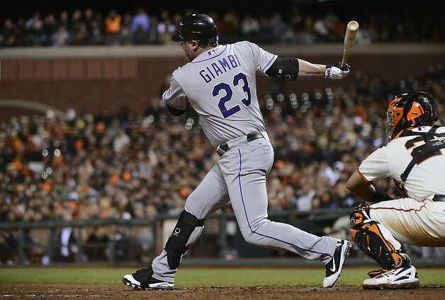 SAN FRANCISCO, CA - SEPTEMBER 18:  Jason Giambi #23 of the Colorado Rockies pitch-hitting in the seventh inning hits into a double play with the bases loaded against the San Francisco Giants at AT&T Park on September 18, 2012 in San Francisco, California.  (Photo by Thearon W. Henderson/Getty Images) Photo: Thearon W. Henderson, Getty Images