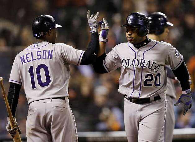 Colorado Rockies' Wilin Rosario (20) celebrates his two-run home run with teammate Chris Nelson (10) during the eighth  inning of a baseball game against the San Francisco Giants on Tuesday, Sept. 18, 2012 in San Francisco. (AP Photo/Marcio Jose Sanchez) Photo: Marcio Jose Sanchez, Associated Press