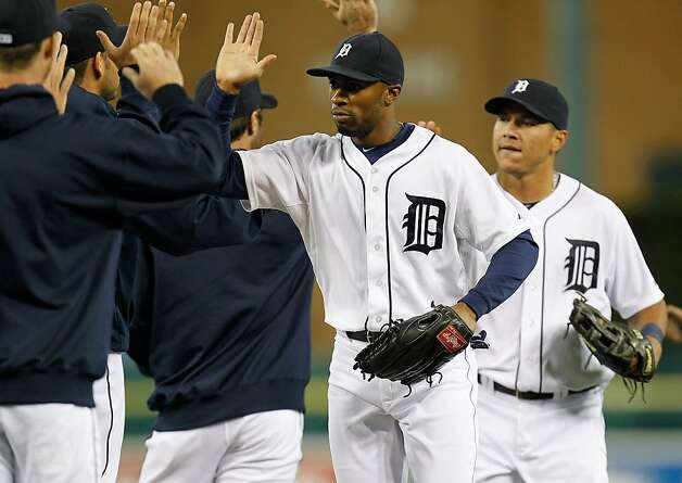 DETROIT, MI - SEPTEMBER 18: Austin Jackson #14 of the Detroit Tigers celebrates a 12-2 win over the Oakland Athletics at Comerica Park on September 18, 2012 in Detroit, Michigan.  (Photo by Gregory Shamus/Getty Images) Photo: Gregory Shamus, Getty Images