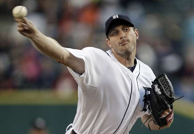 Detroit Tigers pitcher Max Scherzer throws to an Oakland Athletics batter in the first inning of a baseball game in Detroit on Tuesday, Sept. 18, 2012. (AP Photo/Paul Sancya) Photo: Paul Sancya, Associated Press