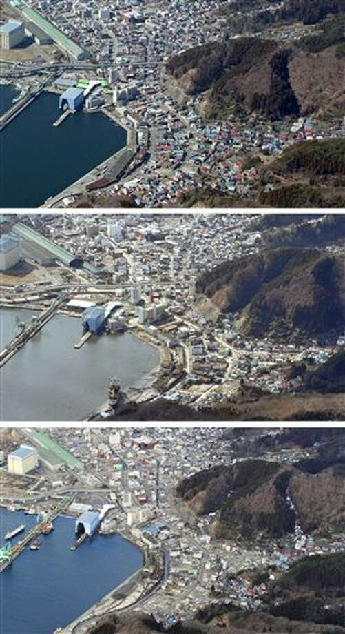 The combination of three photos shows the aerial view of Kamaishi, Iwate Prefecture, taken, from top, before, soon after and nearly one year after a devastating earthquake and tsunami that hit Japan's northeast on Mach 11, 2011. The top photo was taken by photographer Tadao Yoshimura in March, 2010, and the middle and the bottom photos were taken by Kyodo News on March 28, 2011 and March 7, 2012, respectively. (AP Photo/Kyodo News) JAPAN OUT, MANDATORY CREDIT, NO LICENSING IN CHINA, FRANCE, HONG KONG, JAPAN AND SOUTH KOREA Photo: AP / Kyodo News