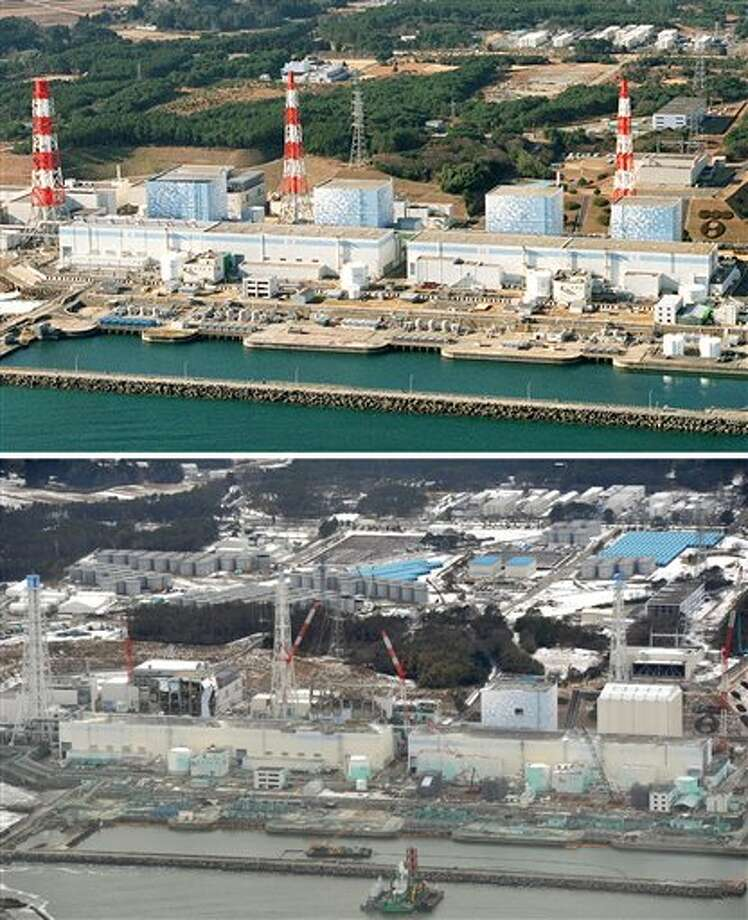 The combination of two photos shows four reactors, from right to left, Unit 1 to Unit 4, at the Fukushima Dai-ichi nuclear power station in Fukushima Prefecture before, top, and nearly one year after a devastating earthquake and tsunami hit Japan's northeast on March 11, 2011 and sent three of its reactors into meltdown. The top photo was taken in December, 2000, while the bottom photo was taken on Feb. 26, 2012. (AP Photo/Kyodo News) JAPAN OUT, MANDATORY CREDIT, NO LICENSING IN CHINA, FRANCE, HONG KONG, JAPAN AND SOUTH KOREA Photo: AP / Kyodo News