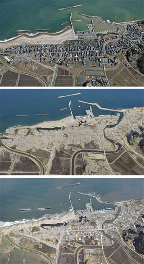 The combination of three photos shows the aerial view of the Tsurishihama fishing port area in Shinchi, Fukushima Prefecture, taken, from top, before, soon after and nearly one year after a devastating earthquake and tsunami that hit Japan's northeast on Mach 11, 2011. The top photo was taken by photographer Tadao Yoshimura in March, 2010, and the middle and the bottom photos were taken by Kyodo News on April 7, 2011 and March 7, 2012, respectively. (AP Photo/Kyodo News) JAPAN OUT, MANDATORY CREDIT, NO LICENSING IN CHINA, FRANCE, HONG KONG, JAPAN AND SOUTH KOREA Photo: AP / Kyodo News
