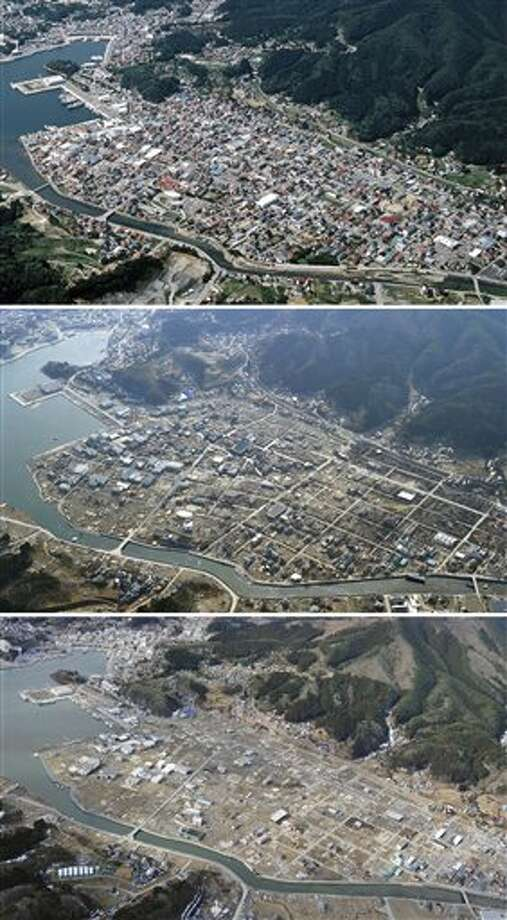 The combination of three photos shows the aerial view of Shikaori district of Kesennuma, Miyagi Prefecture, taken, from top, before, soon after and nearly one year after a devastating earthquake and tsunami that hit Japan's northeast on Mach 11, 2011. The top photo was taken by photographer Tadao Yoshimura in August, 2002, and the middle and the bottom photos were taken by Kyodo News on April 7, 2011 and March 7, 2012, respectively. (AP Photo/Kyodo News) JAPAN OUT, MANDATORY CREDIT, NO LICENSING IN CHINA, FRANCE, HONG KONG, JAPAN AND SOUTH KOREA Photo: AP / Kyodo News