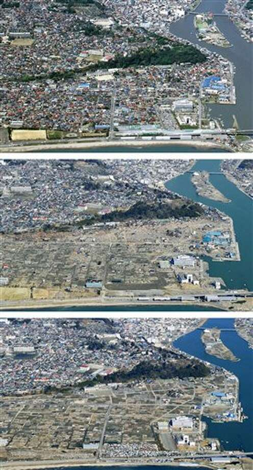 The combination of three photos shows the aerial view of the estuary area of the Kyu-Kitakami River in Ishinomaki, Miyagi Prefecture, taken, from top, before, soon after and nearly one year after a devastating earthquake and tsunami that hit Japan's northeast on Mach 11, 2011. The top photo was taken by photographer Tadao Yoshimura in May, 2007, and the middle and the bottom photos were taken by Kyodo News on March 29, 2011 and March 4, 2012, respectively. (AP Photo/Kyodo News) JAPAN OUT, MANDATORY CREDIT, NO LICENSING IN CHINA, FRANCE, HONG KONG, JAPAN AND SOUTH KOREA Photo: AP / Kyodo News