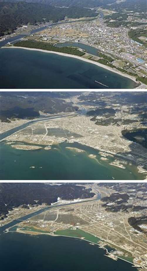 The combination of three photos shows the aerial view of Rikuzentakata, Iwate Prefecture, taken, from top, before, soon after and nearly one year after a devastating earthquake and tsunami that hit Japan's northeast on Mach 11, 2011. The top photo was taken by photographer Tadao Yoshimura in October, 2008, and the middle and the bottom photos were taken by Kyodo News on March 28, 2011 and March 4, 2012, respectively. The newly built breakwater is seen along the coastline in the bottom photo. (AP Photo/Kyodo News) JAPAN OUT, MANDATORY CREDIT, NO LICENSING IN CHINA, FRANCE, HONG KONG, JAPAN AND SOUTH KOREA Photo: AP / Kyodo News