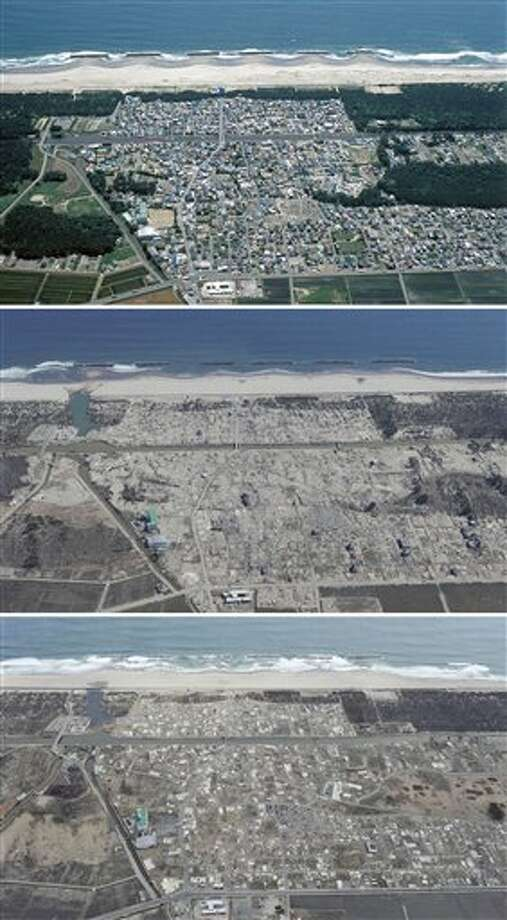 The combination of three photos shows the aerial view of Arahama district in Sendai, Miyagi Prefecture, taken, from top, before, soon after and nearly one year after a devastating earthquake and tsunami that hit Japan's northeast on Mach 11, 2011. The top photo was taken by photographer Tadao Yoshimura in June, 2004, and the middle and the bottom photos were taken by Kyodo News on March 24, 2011 and March 7, 2012, respectively. (AP Photo/Kyodo News) JAPAN OUT, MANDATORY CREDIT, NO LICENSING IN CHINA, FRANCE, HONG KONG, JAPAN AND SOUTH KOREA Photo: AP / Kyodo News