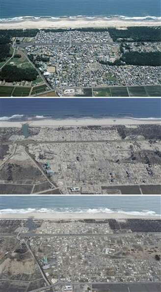 The combination of three photos shows the aerial view of Arahama district in Sendai, Miyagi Prefectu