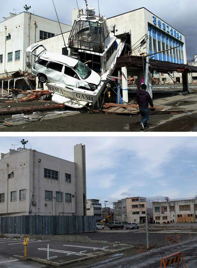 ISHINOMAKI, JAPAN - MARCH 07:  In this composite image (top) a man walks past a car wedged into a boat on March 18, 2011 and (bottom) the same location as seen ahead of the one year anniversary of the Tohoku earthquake and tsunami on March 7, 2011 in Ishinomaki, Japan. A 9.0 magnitude strong earthquake struck Japan offshore on March 11, 2011 at 2:46pm local time, triggering a tsunami wave of up to ten metres which engulfed large parts of north-eastern Japan and also damaged the Fukushima nuclear plant, causing the worst nuclear crisis in decades. The number of dead and missing ammounted to over 25,000 people. Photo: Chris McGrath, Getty Images / 2012 Getty Images