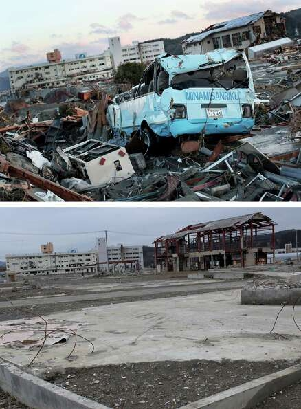 MINAMISANRIKU, JAPAN - MARCH 08:  In this composite image (top) destroyed vehicles lie near the rubb