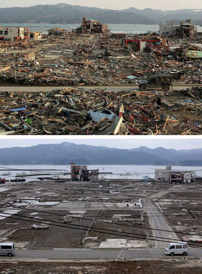 MINAMISANRIKU, JAPAN - MARCH 08: In this composite image (top) a military vehicle drives through the rubble on March 19, 2011 and (bottom) the same location as seen ahead of the one year anniversary of the Tohoku earthquake and tsunami on March 8, 2011 in Minamisanriku, Japan. A 9.0 magnitude strong earthquake struck Japan offshore on March 11, 2011 at 2:46pm local time, triggering a tsunami wave of up to ten metres which engulfed large parts of north-eastern Japan and also damaged the Fukushima nuclear plant, causing the worst nuclear crisis in decades. The number of dead and missing ammounted to over 25,000 people. Photo: Chris McGrath, Getty Images / 2012 Getty Images