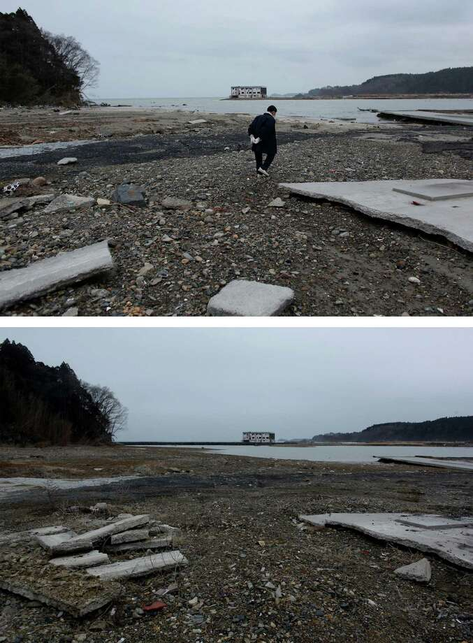 MOTOYOSHI, JAPAN - MARCH 08:  In this composite image (top) 91-year-old Eijiro Miura searches for the house he grew up in on the coastline on March 21, 2011 and (bottom) the same location as seen ahead of the one year anniversary of the Tohoku earthquake and tsunami on March 8, 2011 in Motoyoshi, Japan. A 9.0 magnitude strong earthquake struck Japan offshore on March 11, 2011 at 2:46pm local time, triggering a tsunami wave of up to ten metres which engulfed large parts of north-eastern Japan and also damaged the Fukushima nuclear plant, causing the worst nuclear crisis in decades. The number of dead and missing ammounted to over 25,000 people. Photo: Chris McGrath, Getty Images / 2012 Getty Images