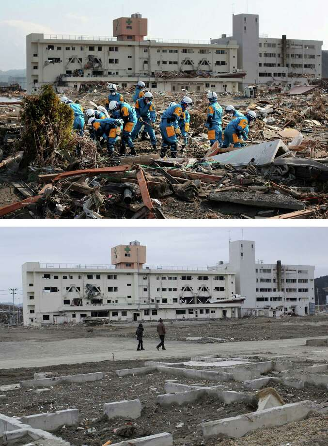 MINAMISANRIKU, JAPAN - MARCH 08:  In this composite image (top) police search and rescue crews dig through rubble on March 19, 2011 and (bottom) the same location as seen ahead of the one year anniversary of the Tohoku earthquake and tsunami on March 8, 2011 in Minamisanriku, Japan. A 9.0 magnitude strong earthquake struck Japan offshore on March 11, 2011 at 2:46pm local time, triggering a tsunami wave of up to ten metres which engulfed large parts of north-eastern Japan and also damaged the Fukushima nuclear plant, causing the worst nuclear crisis in decades. The number of dead and missing ammounted to over 25,000 people. Photo: Chris McGrath, Getty Images / 2012 Getty Images
