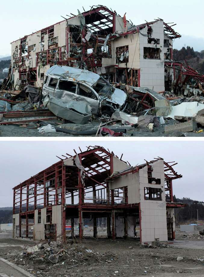 MINAMISANRIKU, JAPAN - MARCH 08:  In this composite image (top) destroyed vehicles lie near the rubble after the earthquake and tsunami devastated the area on March 16, 2011 and (bottom) the same location as seen ahead of the one year anniversary of the Tohoku earthquake and tsunami on March 8, 2011 in Minamisanriku, Japan. A 9.0 magnitude strong earthquake struck Japan offshore on March 11, 2011 at 2:46pm local time, triggering a tsunami wave of up to ten metres which engulfed large parts of north-eastern Japan and also damaged the Fukushima nuclear plant, causing the worst nuclear crisis in decades. The number of dead and missing ammounted to over 25,000 people. Photo: Chris McGrath, Getty Images / 2012 Getty Images