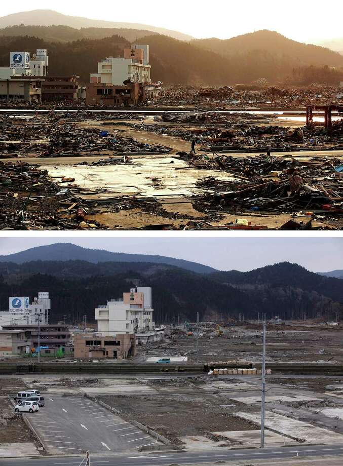 MINAMISANRIKU, JAPAN - MARCH 08:  In this composite image (top) a man walks through rubble on March 19, 2011 and (bottom) the same location as seen ahead of the one year anniversary of the Tohoku earthquake and tsunami on March 8, 2011 in Minamisanriku, Japan. A 9.0 magnitude strong earthquake struck Japan offshore on March 11, 2011 at 2:46pm local time, triggering a tsunami wave of up to ten metres which engulfed large parts of north-eastern Japan and also damaged the Fukushima nuclear plant, causing the worst nuclear crisis in decades. The number of dead and missing ammounted to over 25,000 people. Photo: Chris McGrath, Getty Images / 2012 Getty Images