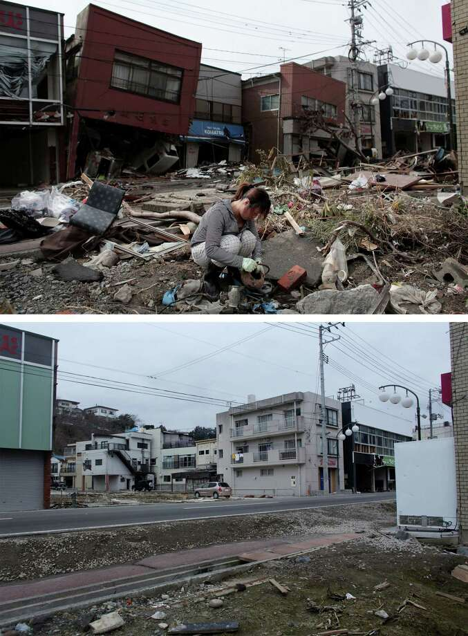 KESENNUMA, JAPAN - MARCH 08:  In this composite image (top) a woman sifts through the rubble of her home on March 17, 2011 and (bottom) the same location as seen ahead of the one year anniversary of the Tohoku earthquake and tsunami on March 8, 2011 in Kesennuma, Japan. A 9.0 magnitude strong earthquake struck Japan offshore on March 11, 2011 at 2:46pm local time, triggering a tsunami wave of up to ten metres which engulfed large parts of north-eastern Japan and also damaged the Fukushima nuclear plant, causing the worst nuclear crisis in decades. The number of dead and missing ammounted to over 25,000 people. Photo: Chris McGrath, Getty Images / 2012 Getty Images