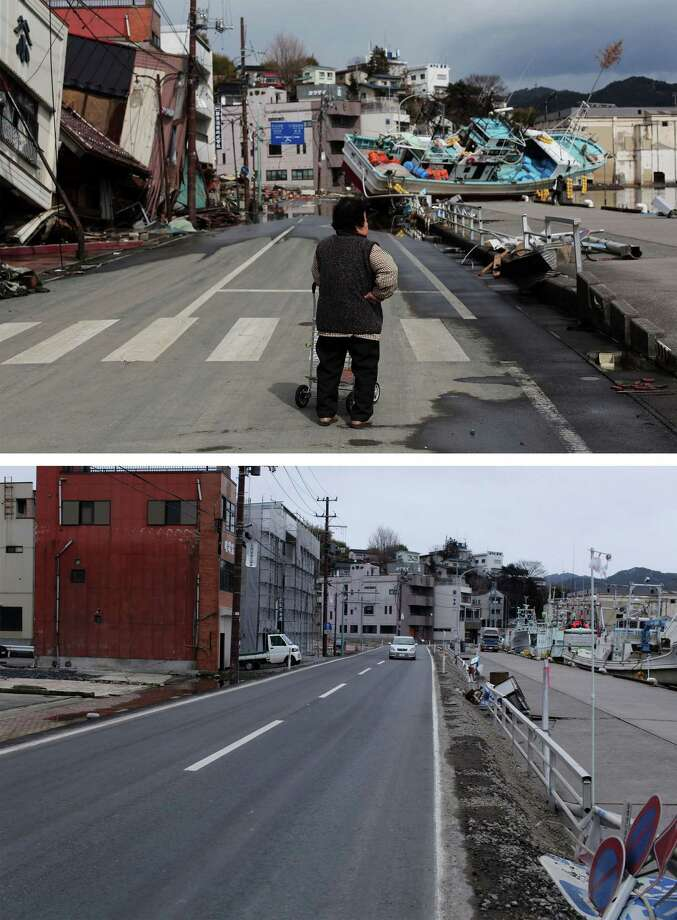 KESENNUMA, JAPAN - MARCH 08:  In this composite image (top) a woman surveys the damage after the earthquake on March 17, 2011 and (bottom) the same location as seen ahead of the one year anniversary of the Tohoku earthquake and tsunami on March 8, 2011 in Kesennuma, Japan. A 9.0 magnitude strong earthquake struck Japan offshore on March 11, 2011 at 2:46pm local time, triggering a tsunami wave of up to ten metres which engulfed large parts of north-eastern Japan and also damaged the Fukushima nuclear plant, causing the worst nuclear crisis in decades. The number of dead and missing ammounted to over 25,000 people. Photo: Chris McGrath, Getty Images / 2012 Getty Images