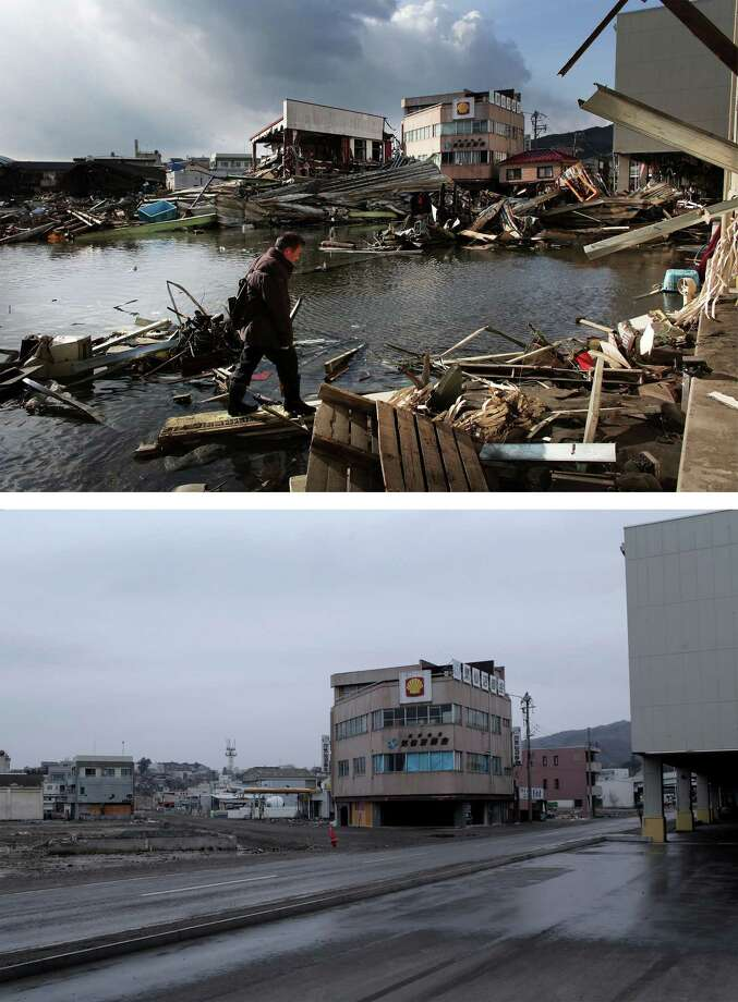 KESENNUMA, JAPAN - MARCH 08:  In this composite image (top) a man walks through the rubble on March 17, 2011 and (bottom) the same location as seen ahead of the one year anniversary of the Tohoku earthquake and tsunami on March 8, 2011 in Kesennuma, Japan. A 9.0 magnitude strong earthquake struck Japan offshore on March 11, 2011 at 2:46pm local time, triggering a tsunami wave of up to ten metres which engulfed large parts of north-eastern Japan and also damaged the Fukushima nuclear plant, causing the worst nuclear crisis in decades. The number of dead and missing ammounted to over 25,000 people. Photo: Chris McGrath, Getty Images / 2012 Getty Images