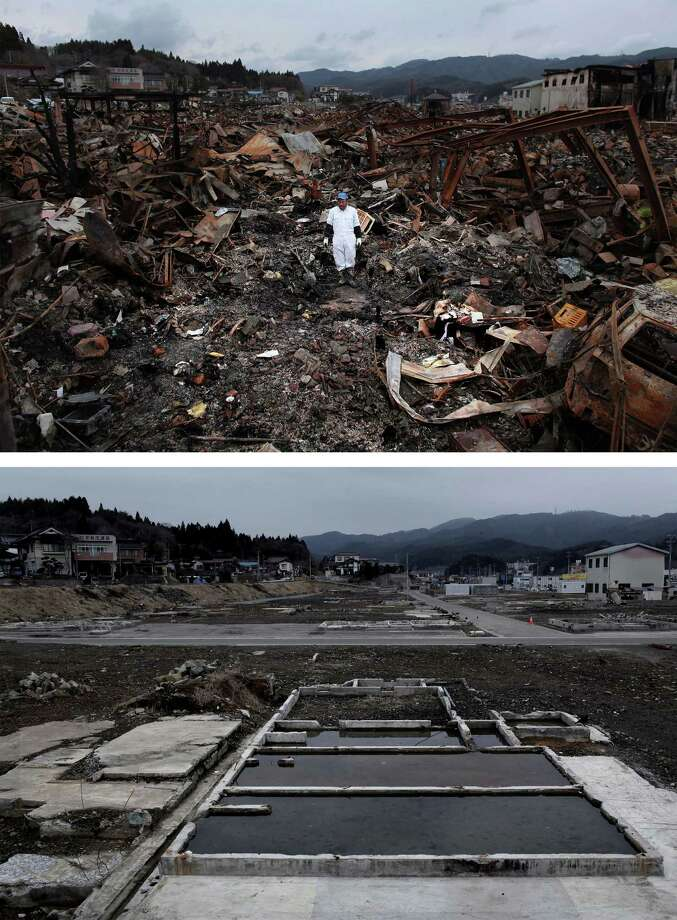 KESENNUMA, JAPAN - MARCH 08:  In this composite image (top) Sigo Hatareyama works to clean out what is left of his house on March 21, 2011 and (bottom) the same location as seen ahead of the one year anniversary of the Tohoku earthquake and tsunami on March 8, 2011 in Kesennuma, Japan. A 9.0 magnitude strong earthquake struck Japan offshore on March 11, 2011 at 2:46pm local time, triggering a tsunami wave of up to ten metres which engulfed large parts of north-eastern Japan and also damaged the Fukushima nuclear plant, causing the worst nuclear crisis in decades. The number of dead and missing ammounted to over 25,000 people. Photo: Chris McGrath, Getty Images / 2012 Getty Images
