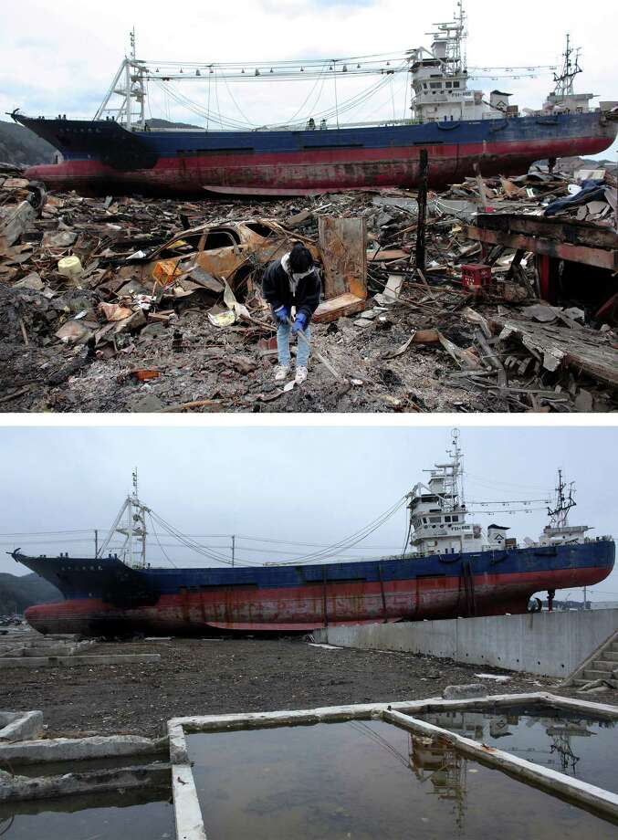 KESENNUMA, JAPAN - MARCH 08:  In this composite image (top) Akiko Hatareyama digs mud out of what is left of her house in front of a grounded ship on March 21, 2011 and (bottom) the same location as seen ahead of the one year anniversary of the Tohoku earthquake and tsunami on March 8, 2011 in Kesennuma, Japan. A 9.0 magnitude strong earthquake struck Japan offshore on March 11, 2011 at 2:46pm local time, triggering a tsunami wave of up to ten metres which engulfed large parts of north-eastern Japan and also damaged the Fukushima nuclear plant, causing the worst nuclear crisis in decades. The number of dead and missing ammounted to over 25,000 people. Photo: Chris McGrath, Getty Images / 2012 Getty Images