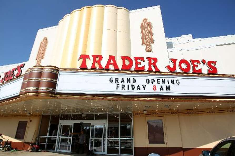 Exterior of the refurbished movie marquee at the new Trader Joe's in the Alabama Theater on Shepherd