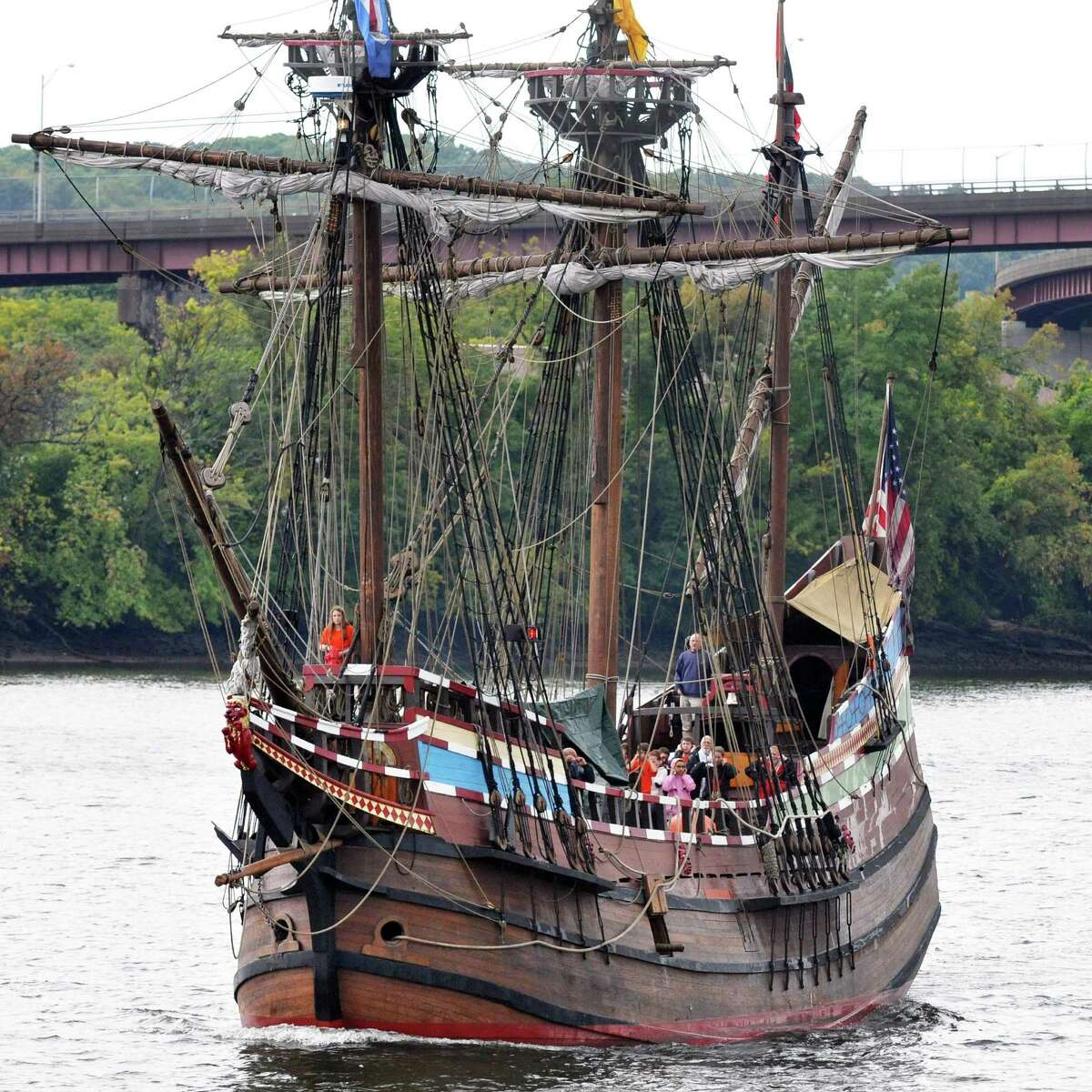 The replica 17th century sailing ship Half Moon carrying a group of Dutch and American middle school students prepares to dock at Albany's Corning Preserve Tuesday Sept. 18, 2012, as they re-create the original voyage of Henry Hudson from September 1609. (John Carl D'Annibale / Times Union)