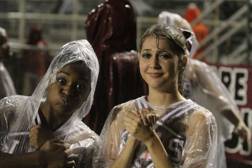 The rain allowed for many 'rain' faces at the ballgame.