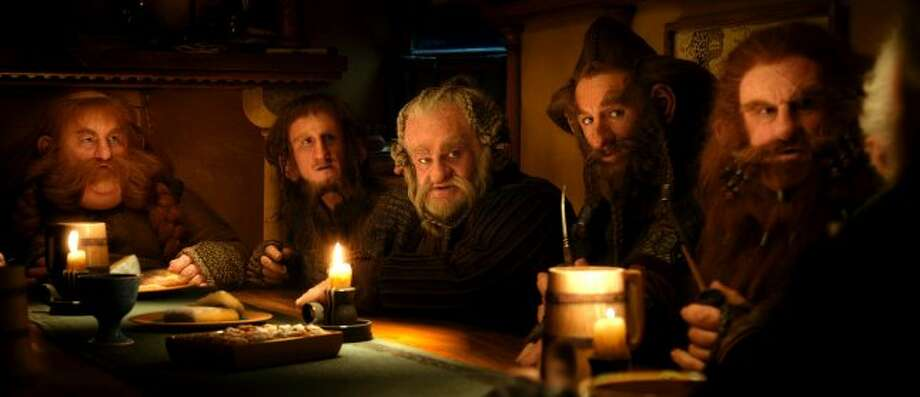 "(L-r) STEPHEN HUNTER as Bombur, ADAM BROWN as Ori, MARK HADLOW as Dori, JED BROPHY as Nori and PETER HAMBLETON as Gloin in New Line Cinema's and MGM's fantasy adventure ""THE HOBBIT: AN UNEXPECTED JOURNEY,"" a Warner Bros. Pictures release. (© 2012 Warner Bros. Entertainment Inc. and Metro-Goldwyn-Mayer Pictures inc.)"